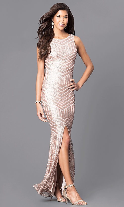 Image of sequin floor-length prom dress with cut-out back. Style: MCR-1738 Front Image