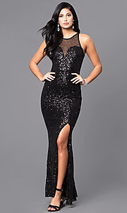 Image of sequin prom dress with illusion sweetheart neckline. Style: MCR-2039 Front Image