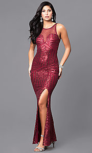 Image of sequin prom dress with illusion sweetheart neckline. Style: MCR-2039 Detail Image 2