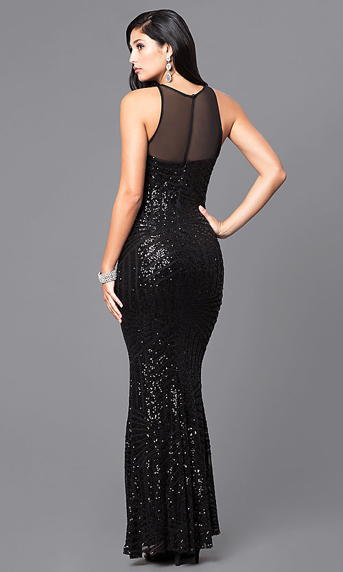 Image of sequin prom dress with illusion sweetheart neckline. Style: MCR-2039 Back Image