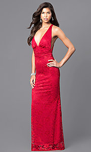 Red Lace Floor-Length Low V-Neck Prom Dress