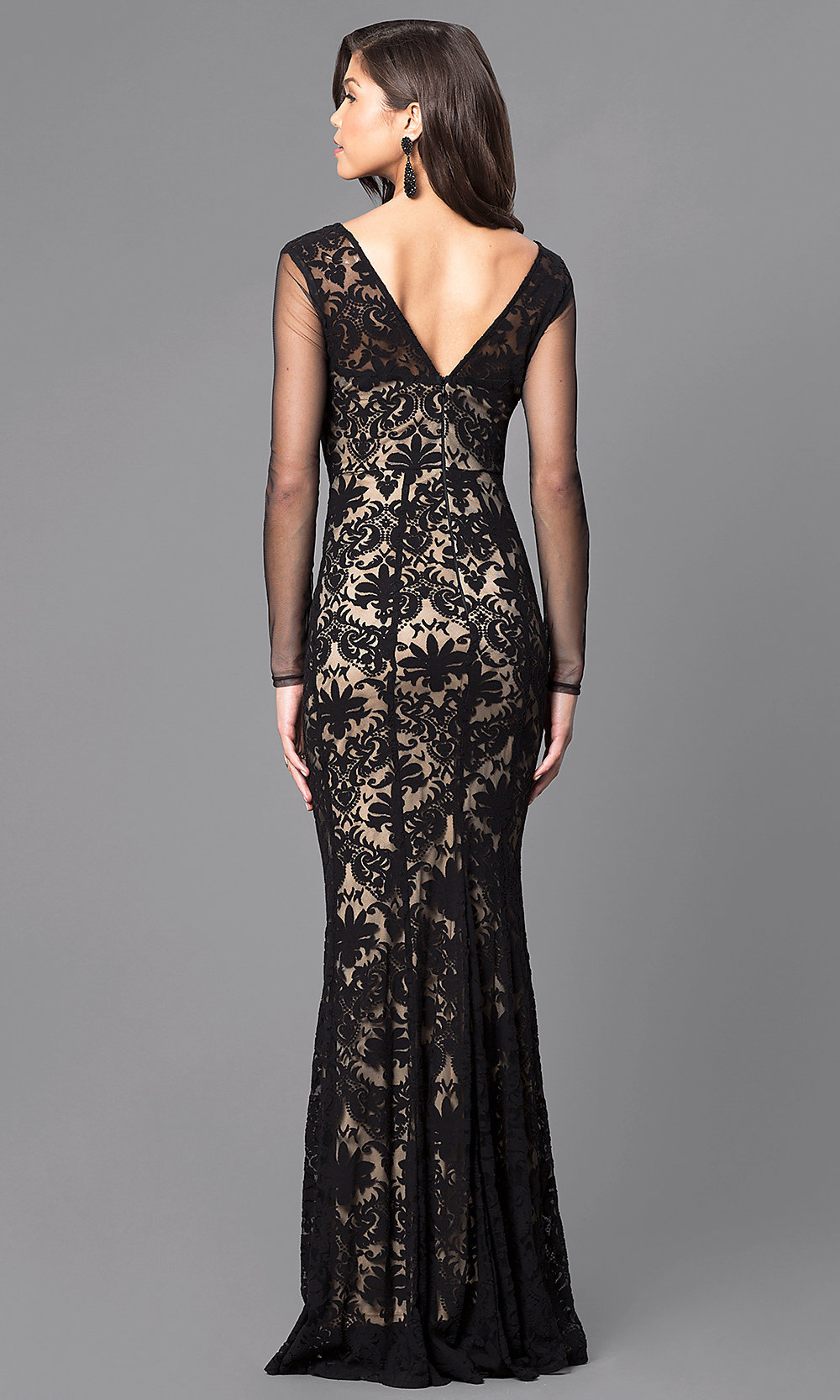 Black and Nude Sleeved Long Lace Prom Dress-PromGirl
