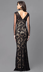 Image of black and nude long lace prom dress with sleeves. Style: MCR-1541 Back Image