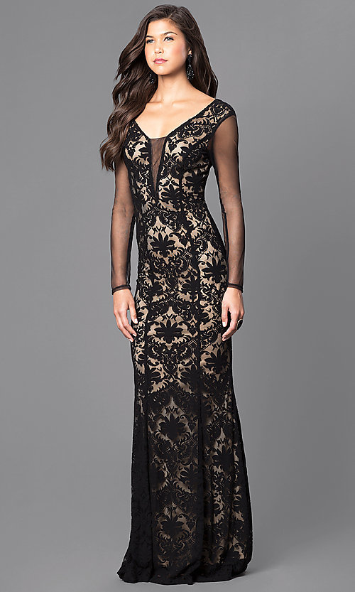 Image of black and nude long lace prom dress with sleeves. Style: MCR-1541 Front Image