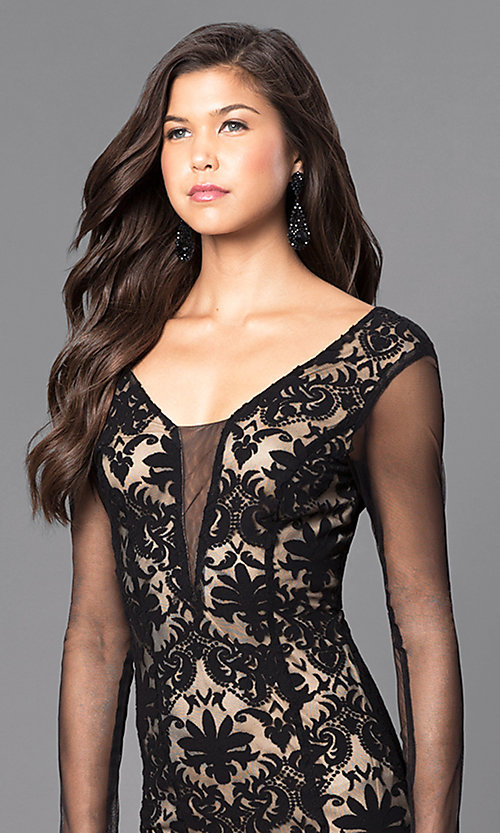Image of black and nude long lace prom dress with sleeves. Style: MCR-1541 Detail Image 1