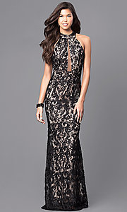 Black Lace Long Prom Dress with High Neck