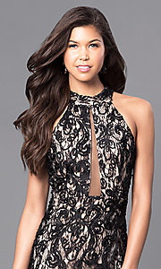 Image of black lace long prom dress with high neck. Style: MCR-1759 Detail Image 1