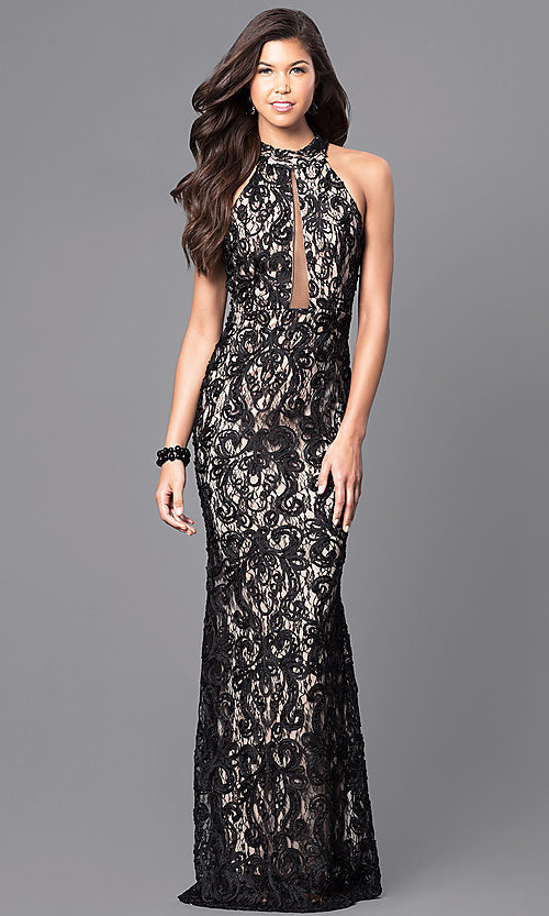 Image of black lace long prom dress with high neck. Style: MCR-1759 Front Image