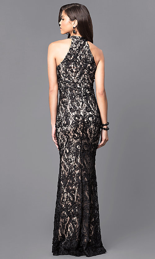 Image of black lace long prom dress with high neck. Style: MCR-1759 Back Image