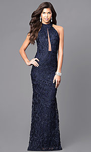 Navy Blue Lace Floor-Length High-Neck Prom Dress