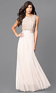 Champagne Nude Sleeveless Prom Dress with Lace Bodice