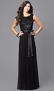 Black Sleeveless Long Prom Dress with Sequined Bodice
