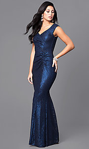 Navy Blue Floor-Length Lace Prom Dress with Ruched Waist