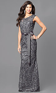 Image of lace cap-sleeve long formal dress with sequins. Style: MCR-1365 Detail Image 1