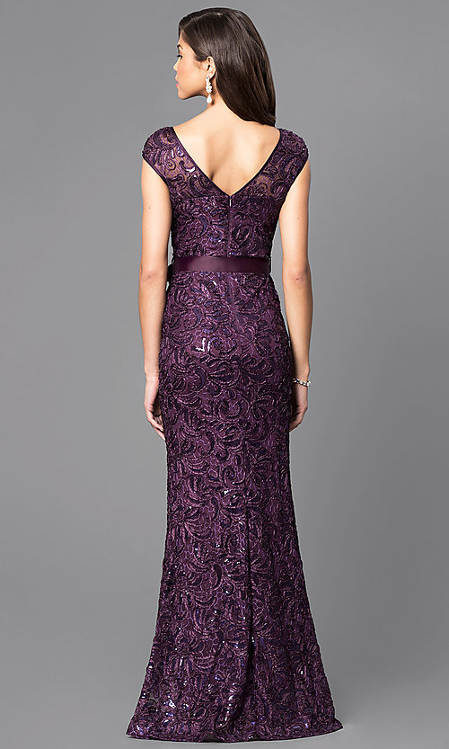 Image of lace cap-sleeve long formal dress with sequins. Style: MCR-1365 Back Image