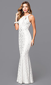 Image of long white metallic-print mermaid prom dress. Style: MB-7012 Front Image