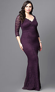 Long Lace Plus Size V-Neck Prom Dress with 3/4 Sleeves