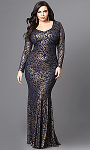 Long Metallic Lace Prom Dress with Long Sleeves