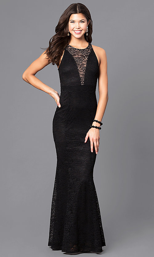 974cba6103503 Image of long spandex lace sleeveless prom dress. Style  MB-7113 Front Image