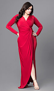 Image of jersey plus-size prom dresses with long sleeves. Style: MB-MX1340 Front Image