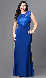 Lace Bodice Long Plus Size Prom Dress