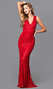 Image of sequined-lace long prom dress with v-neck. Style: MB-7117 Front Image