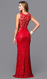 Image of sequined-lace long prom dress with v-neck. Style: MB-7117 Back Image