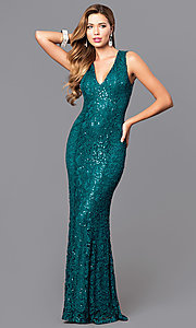 Image of sequined-lace long prom dress with v-neck. Style: MB-7117 Detail Image 1