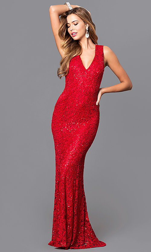 Long V Neck Sequined Lace Prom Dress Promgirl