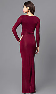 Image of mock-wrap v-neck prom dress with long sleeves. Style: MB-7108 Back Image
