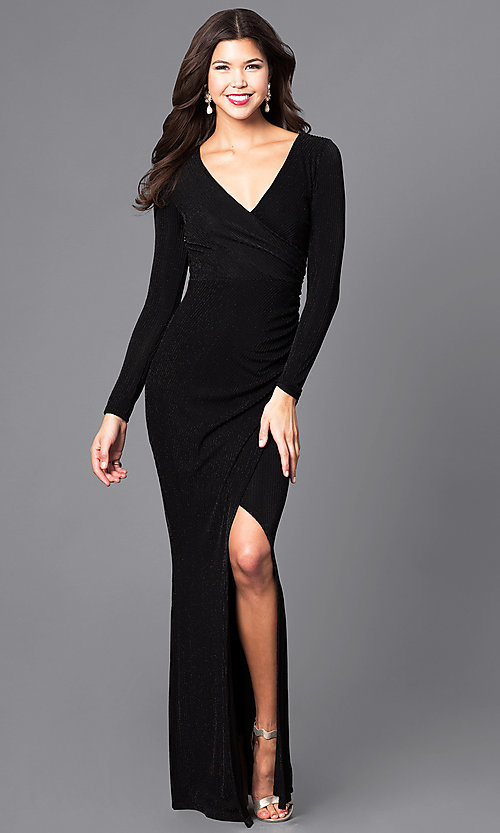 Image of mock-wrap v-neck prom dress with long sleeves. Style: MB-7108 Front Image