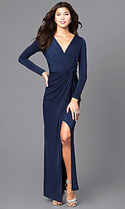 Image of mock-wrap prom dress with long sleeves. Style: MB-7105 Front Image