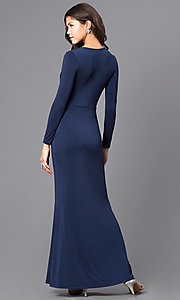 Image of mock-wrap prom dress with long sleeves. Style: MB-7105 Back Image