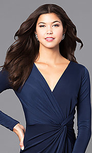 Image of mock-wrap prom dress with long sleeves. Style: MB-7105 Detail Image 1