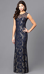 Long Sequin-Accented Lace Prom Dress
