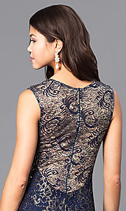 Image of long sequin-accented lace prom dress. Style: MB-6828 Detail Image 3
