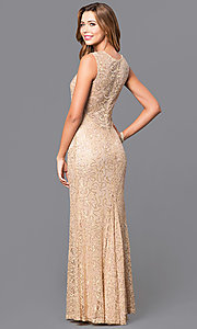 Image of long sequin-accented lace prom dress. Style: MB-6828 Back Image