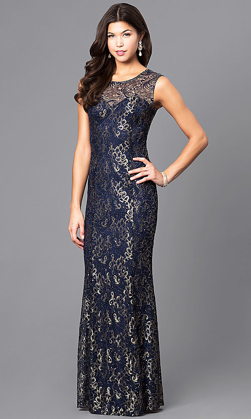 Image of long sequin-accented lace prom dress. Style: MB-6828 Detail Image 2