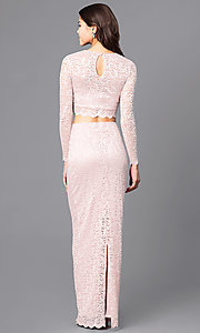 Image of blush pink two-piece lace prom dress with sleeves. Style: MB-7115 Back Image