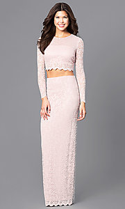 Blush Pink Two-Piece Lace Prom Dress with Sleeves
