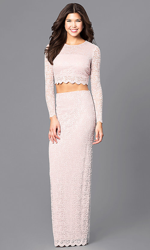 Image of blush pink two-piece lace prom dress with sleeves. Style: MB-7115 Front Image