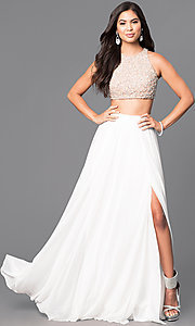 Image of ivory two-piece prom dress with embellished top. Style: TI-GL-1711P2734 Front Image