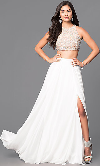 Two-Piece Ivory Prom Dress With Beaded Top -PromGirl