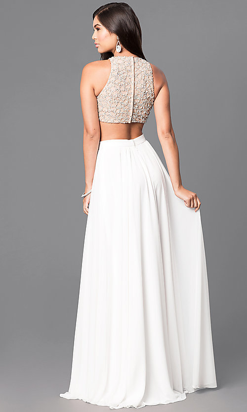 Image of ivory two-piece prom dress with embellished top. Style: TI-GL-1711P2734 Back Image