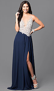 Jeweled-Bodice Navy Prom Dress from Glamour by Terani