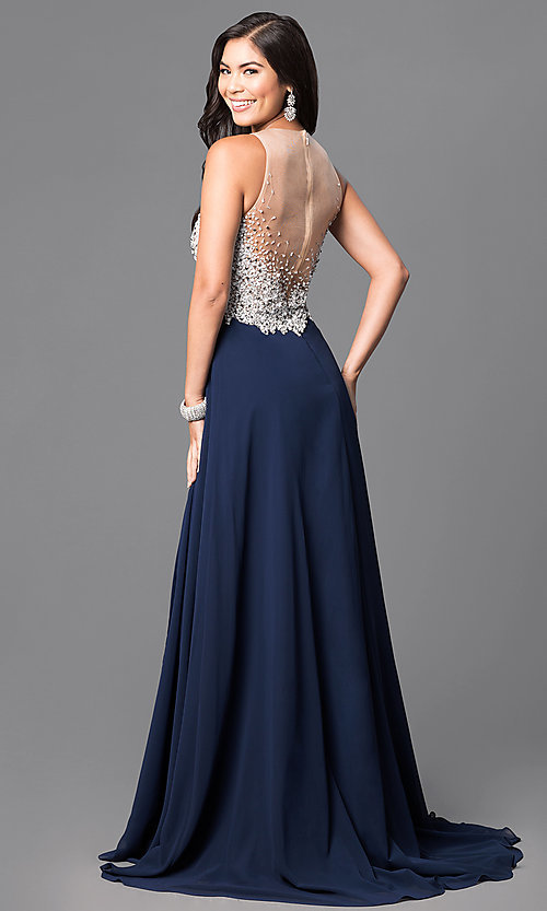Image of jeweled-bodice navy prom dress from Glamour by Terani. Style: TI-GL-1612P0502-N Back Image