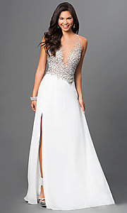 Image of long ivory prom dress with jeweled bodice. Style: TI-GL-1612P0502-I Front Image