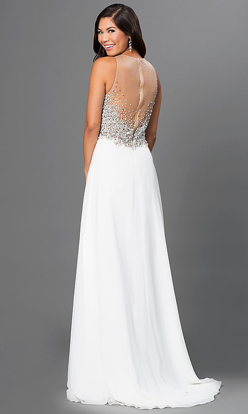 Long Jeweled-Bodice Prom Dress in Ivory - PromGirl