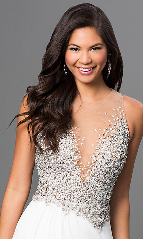 Image of long ivory prom dress with jeweled bodice. Style: TI-GL-1612P0502-I Detail Image 1