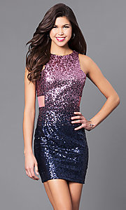 Short Ombre Sequin Party Dress with Side Cut Outs
